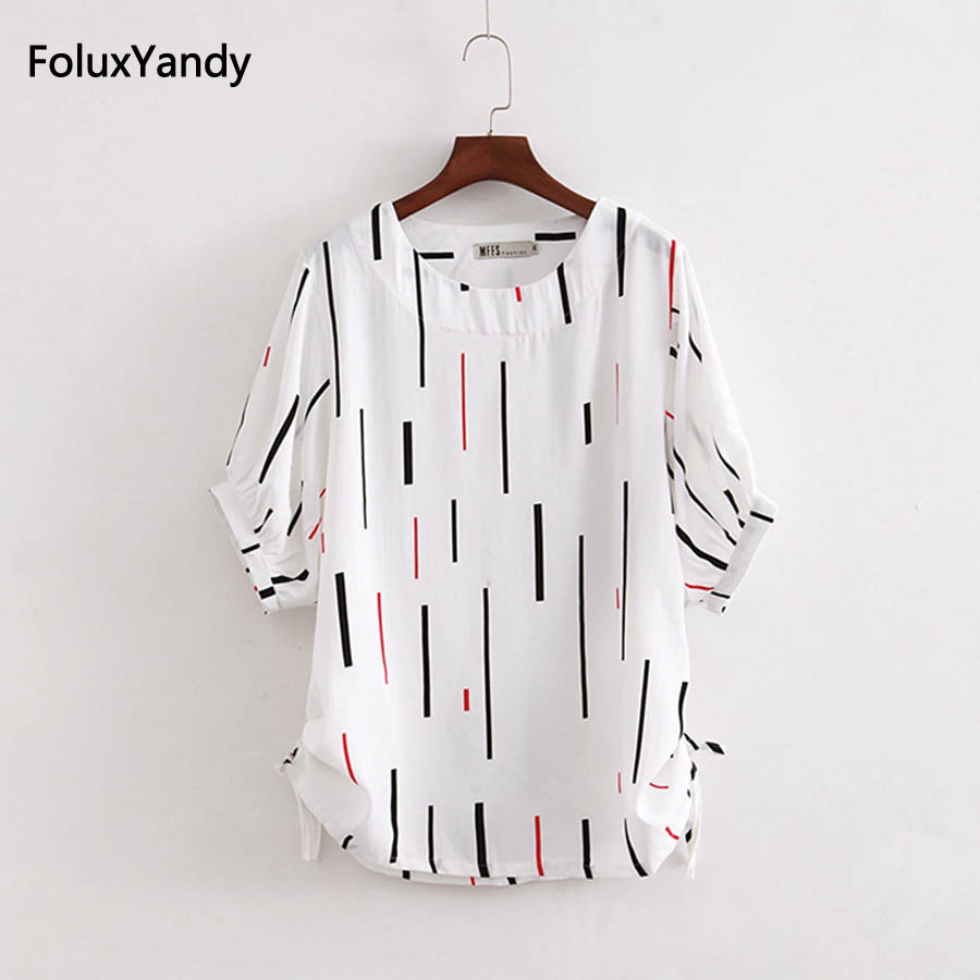 <font><b>6</b></font> <font><b>XL</b></font> Plus Size Tops <font><b>Tees</b></font> Women Casual O-neck Summer Striped Short Sleeve T-<font><b>shirts</b></font> KKFY1642 image