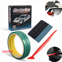 FOSHIO 50M Vinyl Wrap Car Stickers Decal Film Knifeless Tape Design Line Car Wrapping Suede Squeegee Kit Window Tint Accessories