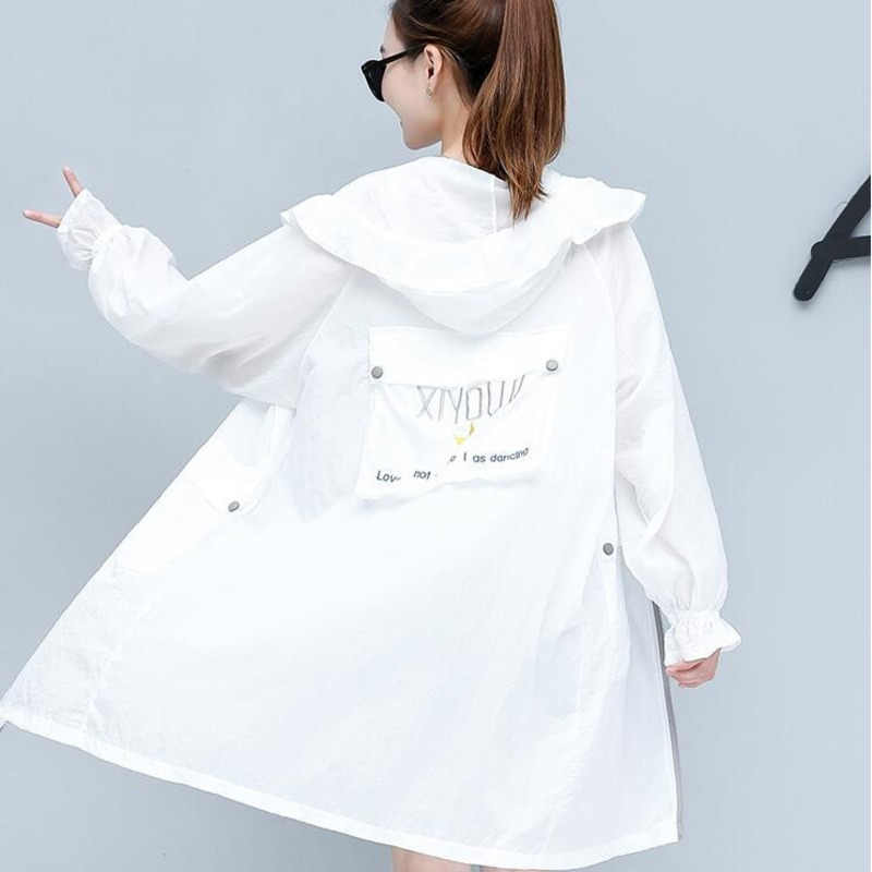 #9010 Korean Women Hooded Loose Jacket Summer Long Sleeve Women's Coat Spring Jacket Zipper Casual Flare Sleeve Sunscreen Coat