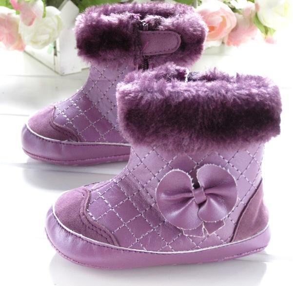 Baby girls purple bowtie snow boots toddler shoes prewalker comfortable soft solo warm footwear 3pairs/lot free shipping 852