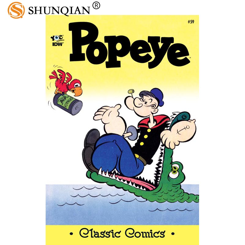 Best Nice Custom Popeye The Sailor Poster High Quality Wall Poster Home decoration Silk Poster For Bedroom