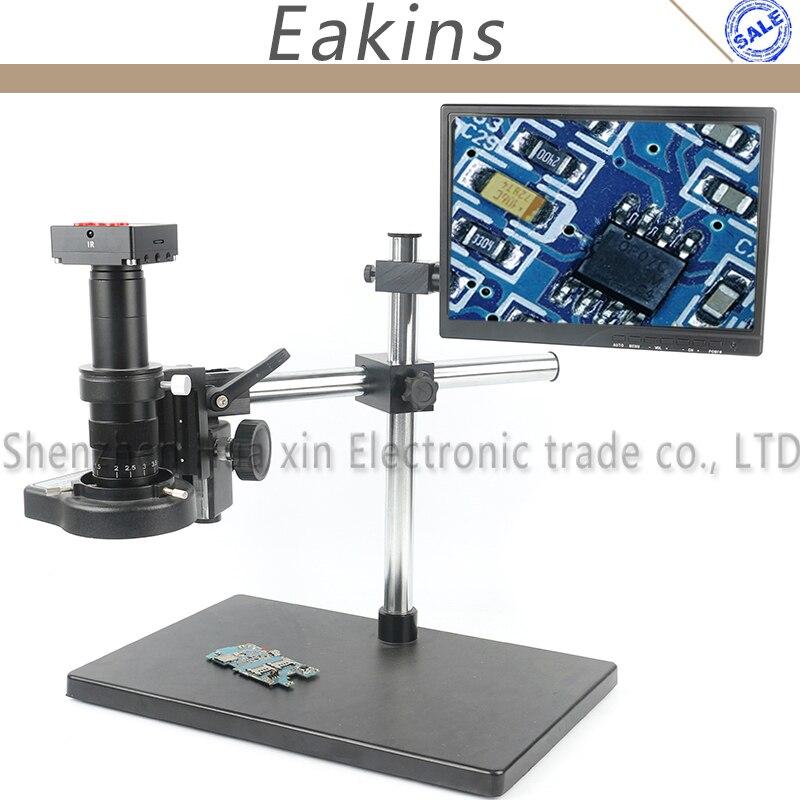 21MP HD HDMI USB Industrielle Vidéo Enregistreur Caméra Microscope Ensemble + 144 lumière + 180X 300X Magnifier + 10.1 LCD Moniteur pour le laboratoire de réparation