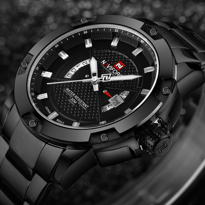 New Brand Men Watches NAVIFORCE Luxury Man Sports Military Watch Men's Full steel Quartz Clock Wrist Watch Relogio Masculino naviforce men s military sports watches men led digital watch waterproof full steel quartz watches man clock relogio masculino