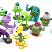 Disney Monsters University Mike Wazowski James P.Sullivan 5-7cm 10pcs/set Action Figure Anime Mini Collection Figurine Toy model