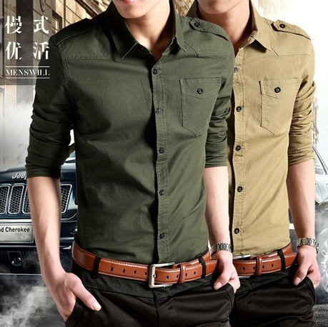 482df4617 2019 Men Causal Dress Shirt Cotton,men's Army Long Sleeve Slim Shirts  Military Khaki Shirts Green Fit Military Style Male Shirts