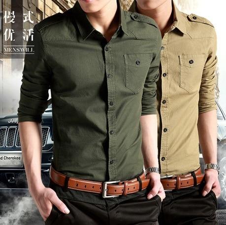 bf2520a96 2019 Men Causal Dress Shirt Cotton,men's Army Long Sleeve Slim Shirts  Military Khaki Shirts Green Fit Military Style Male Shirts