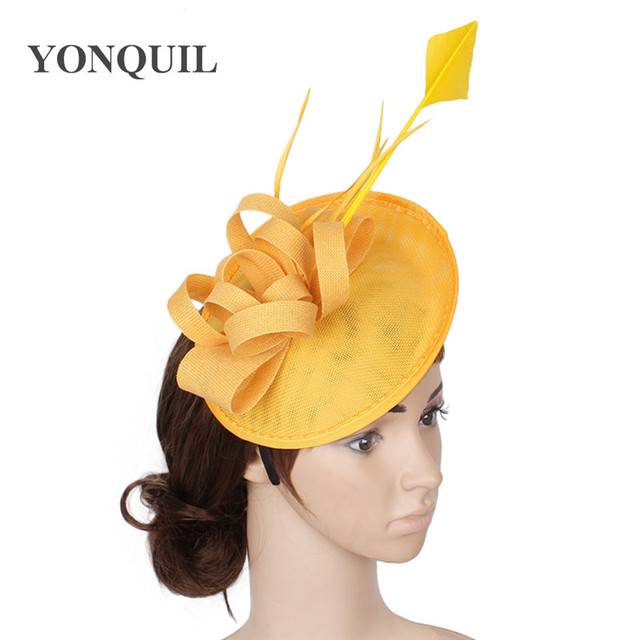 0935966481d 2017 New style wedding copy sinamay fascinator hat with feather decoration  fascinator base for women party