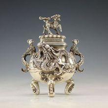 Oriental Vintage Silver Copper Handwork Dragon Incense Burner w Qianlong Mark