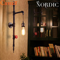 Water Pipe Loft Vintage Retro Wrought Iron Industrial Wall Lamp Sconce Pulley Lamps E27 Edison Pendant Lamp Home Light Fixtures