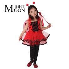 MOONIGHT Disfraz De Halloween para Niños Señora Escarabajo Disfraces Vestido de Princesa Coccinella Septempunctata Mariquita Alas Cosplay(China (Mainland))