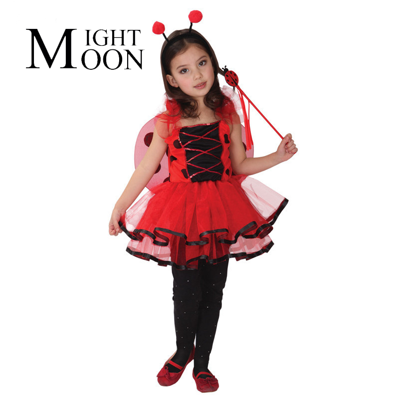 MOONIGHT Halloween Costume for Kids Lady Beetle Costumes Ladybug Wings Princess Dress Coccinella Septempunctata Cosplay