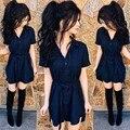 Новое лето коротким рукавом синий a-line dress женщины твердые рубашки dress пояса отказаться воротник платья