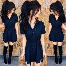 New summer short sleeve blue a-line dress women solid shirts dress sashes turn down collar dresses