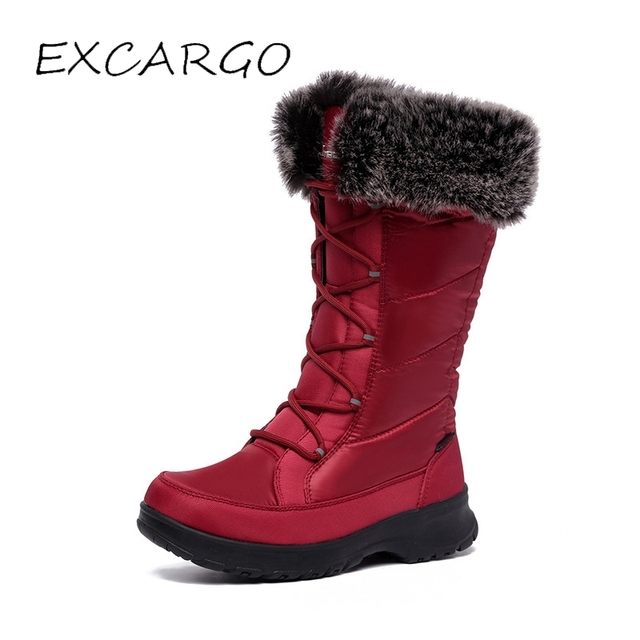 d841df2a6 US $68.0 50% OFF|EXCARGO 40 Degree Keep Warm Woman Snow Boots High 2018  Waterproof Female Winter Warm Cotton Padded Shoes Laides Fur Snow Boots -in  ...