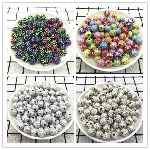 Оптовая продажа, 30 шт., 10 мм, акриловые бусины для футбола, свободные бусины-разделители для шармов, бусины для изготовления браслетов, ожере...