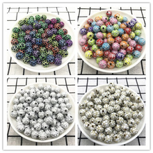 Football Beads Jewelry Bracelet Necklace Soccer Acrylic 10mm Loose-Spacer Wholesale 30pcs