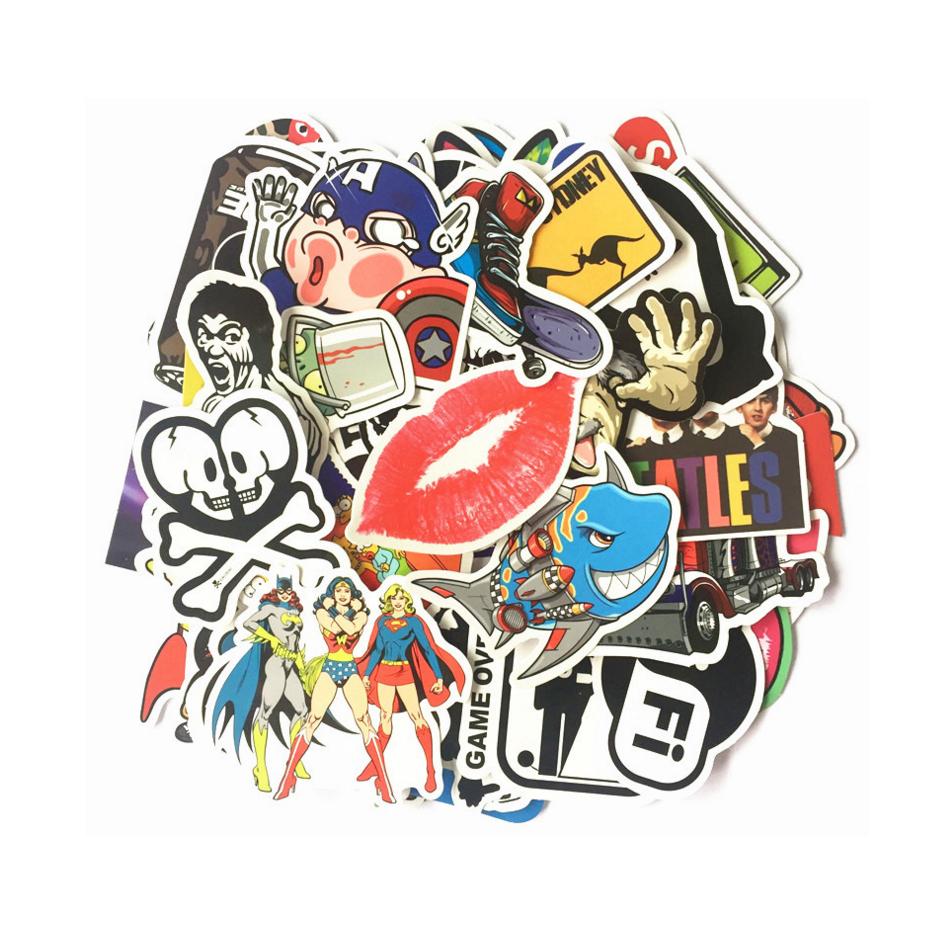 Free Shipping 50Pcs/Pack Mixed Pop Hip hop Cartoon PVC Waterproof Stickers for Guitar Bass Case Amplifier Drum