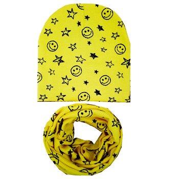 2019 Autumn Winter Baby Hat Set Star Smile Baby Head Cover Spring Warm Neck Collar Kids Beanies Sets Cotton Children Hat Scarf