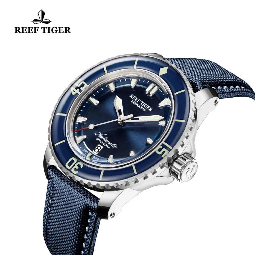 Nowy 2020 rafa Tiger/RT Super Luminous zegarki do nurkowania mężczyzna niebieska tarcza analogowe zegarki automatyczne nylonowy pasek reloj hombre RGA3035