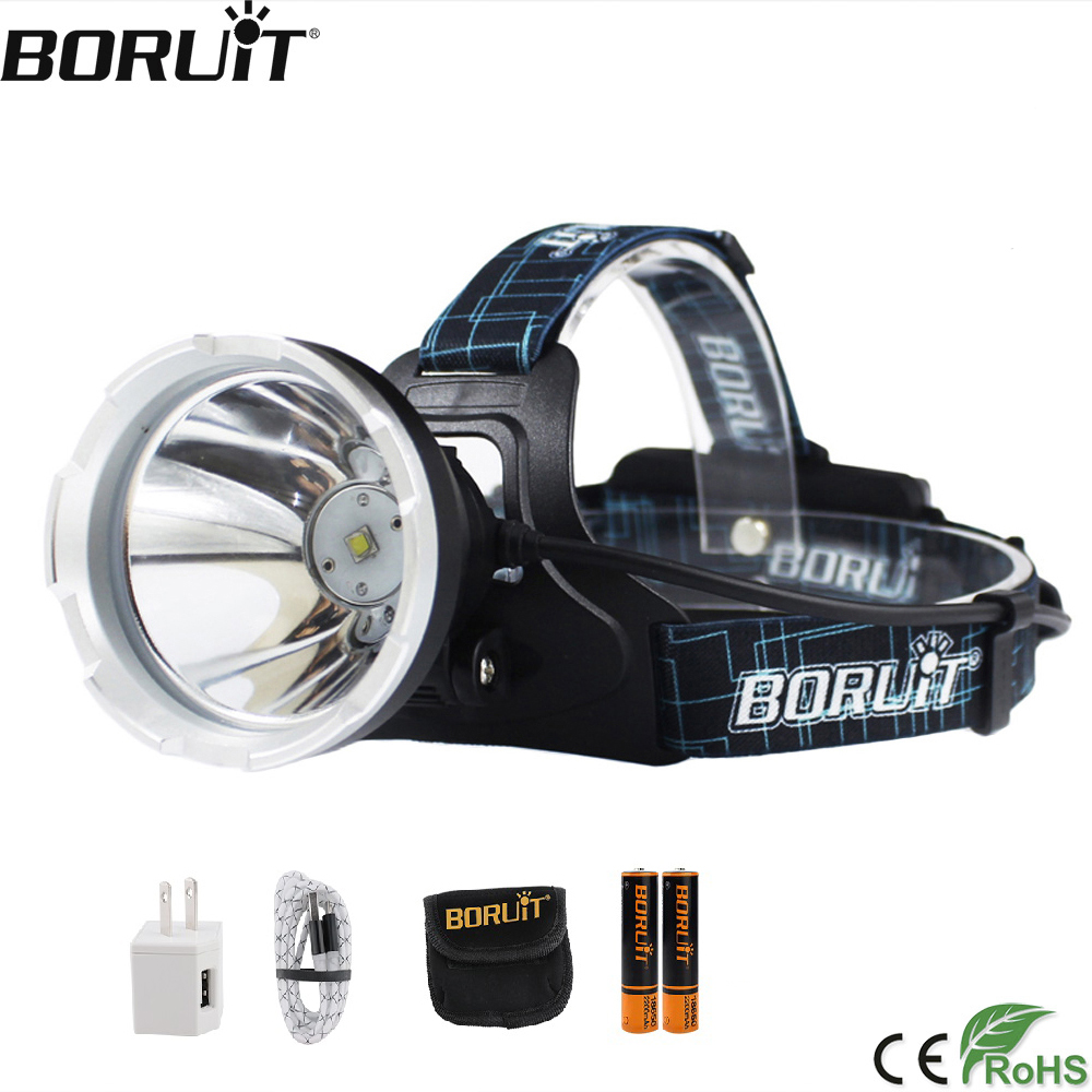 BORUIT B10 XM L2 LED Headlamp 3 Mode 6000LM Headlight Micro USB Rechargeable Head Torch Camping Hunting Waterproof Flashlight-in Headlamps from Lights & Lighting