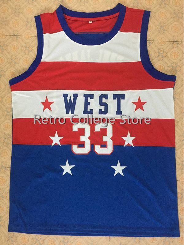 #33 Карим Абдул Джаббар Ретро Возврат Колледж Баскетбол Джерси 1980 Барат все сатр филиалами-корзина синий мужские Вышивка Майки