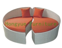 Rattan Round Sectional Sofa Bed Outdoor Furniture