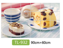 Kitchen aluminum foil waterproof decorative stickers home decor wall stickers food bread fruit juices milk