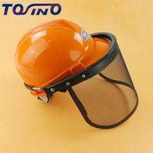 acece0f36a0 Metal Mesh Full Face Mask Protective Visor Safety Helmet hat For chainsaw  brush cutter forestry Lawn