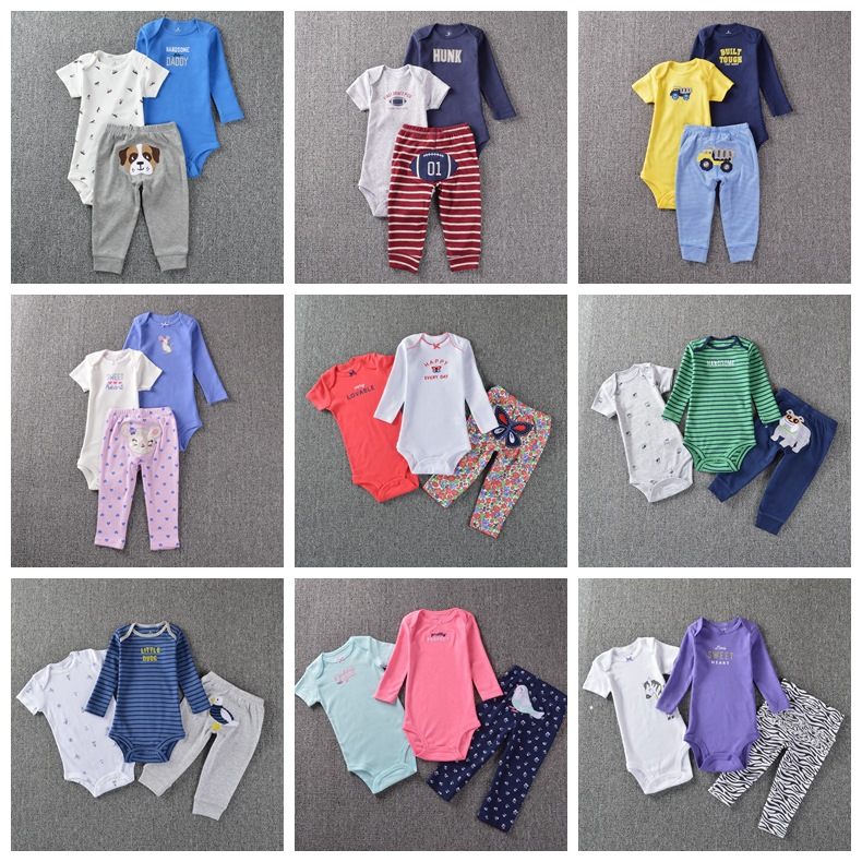 3pcs toddler romper original newborn baby bodysuits girls designer clothes boys clothing sets cotton infants pajamas