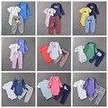 Roupa do bebê 3 pcs originais romper bodysuit bebê recém-nascido da criança meninas roupas de grife meninos conjuntos de roupas de algodão crianças pijama
