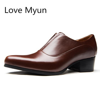 High Heels Genuine Leather Dress Men Shoes Business Casual Height Increase Shoes Career Man Work Dance Pointed Toe Slip On Shoes