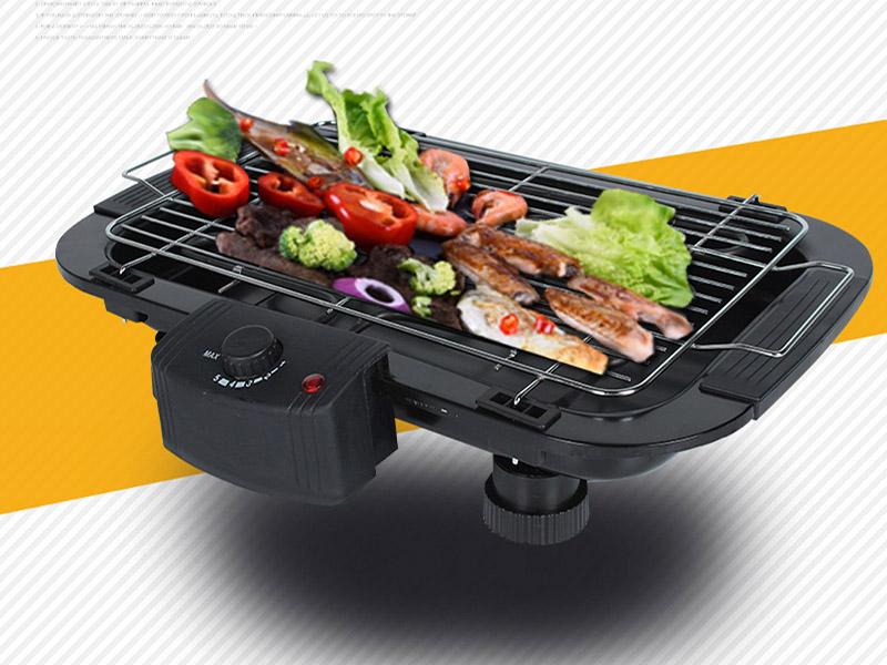Home Non-smoking Electric Grill Korean Non-stick Electric Griddle Barbecue BBQ Net Pan Multicooking Machine Iron Furnace