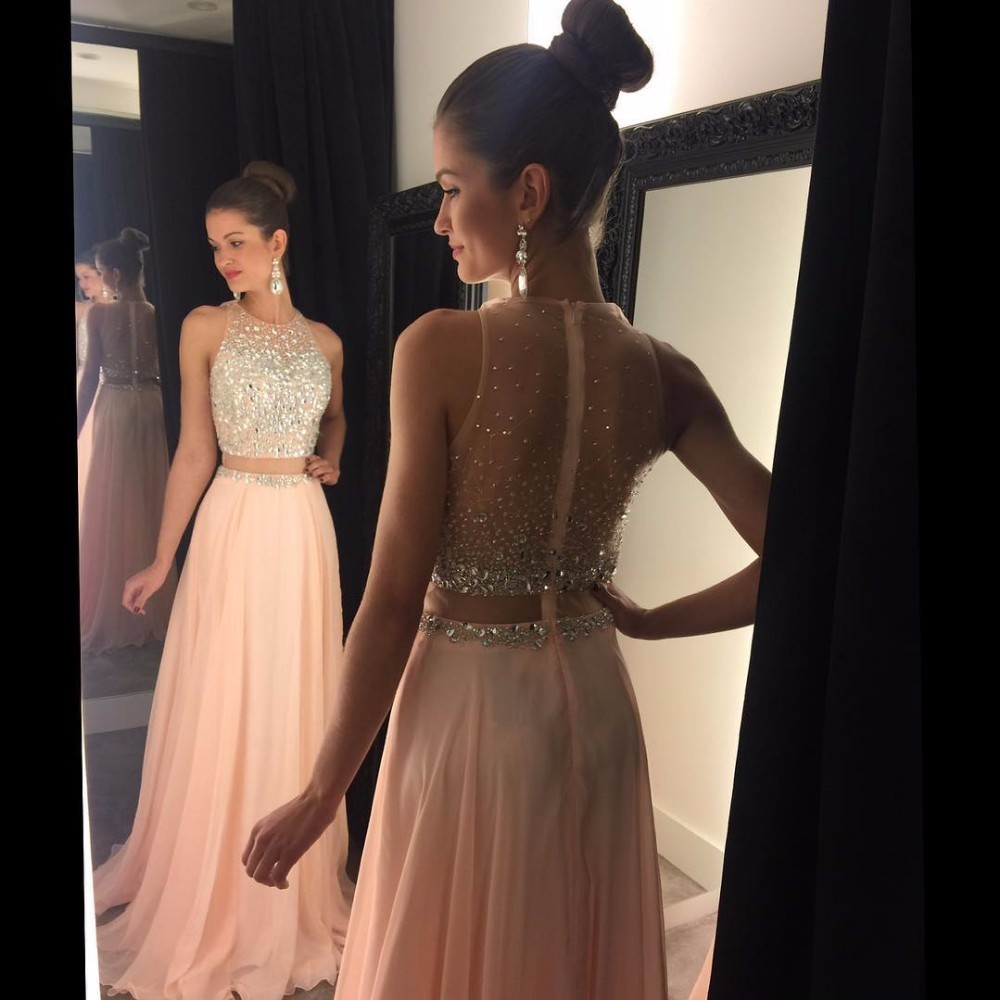 Pink Prom Dress 2019 Crystal Beaded Top Tulle Elegant Long Prom Gown See Through Back Sweep Train Chiffon Evening Gown