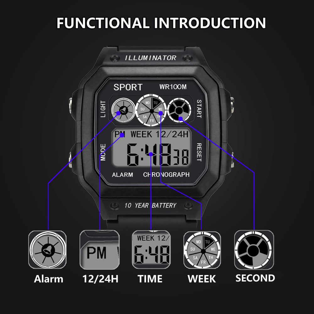 Reloj deportivo Digital LED impermeable para hombre, reloj de pulsera, reloj electrónico para hombre, analógico, Digital, militar, elegante, para hombre