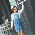 Vestido de Aniversário Dos Miúdos 2016 Outono do vintage Denim Jeans Vestido de Idade 5 6 7 8 9 10 11 12 13 14 Anos de Idade Menina Adolescentes vestido de verão