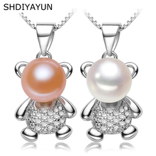 SHDIYAYUN Pearl Necklace Pearl Jewelry Natural Freshwater Pearl Animal Cute Bear Pendants 925 Sterling Silver Jewelry For Women