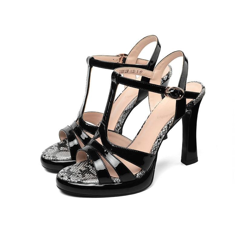 2019 Frau Sexy Leder Sandalen schwarzes Schuh Außerhalb High Damen Echtem Schuhe Beige Sommer Heels rYZnpr
