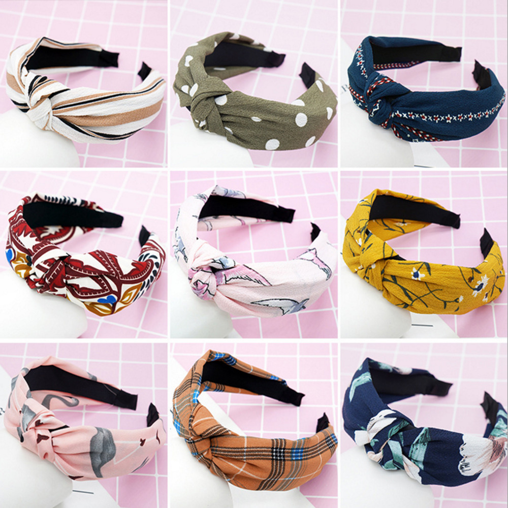28 Colors Women Hairband Plastic Hair bands Headbands Knot Head Hoop Hair Accessories Flower   Headwear