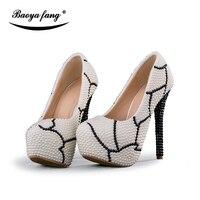BaoYaFang cuentas blancas de las mujeres zapatos de boda de cristal negro zapatos de tacón de plataforma 8 cm/11 cm/14 cm de alto zapatos de la manera wpman partido Bombas