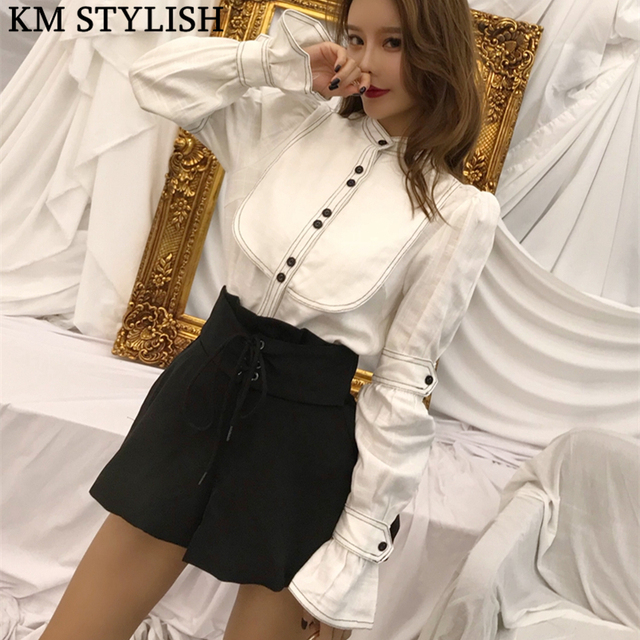 2018 Autumn New Line Design Vintage Court Cotton Linen Shirt + Lace High Waist Lantern Shorts Women's Two Piece Set Black White