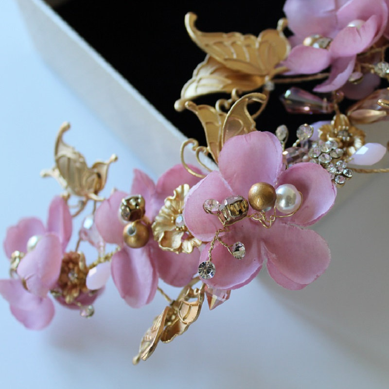 clearance high end gold butterfly pink flower bride clump sweet - Fashion Jewelry - Photo 3