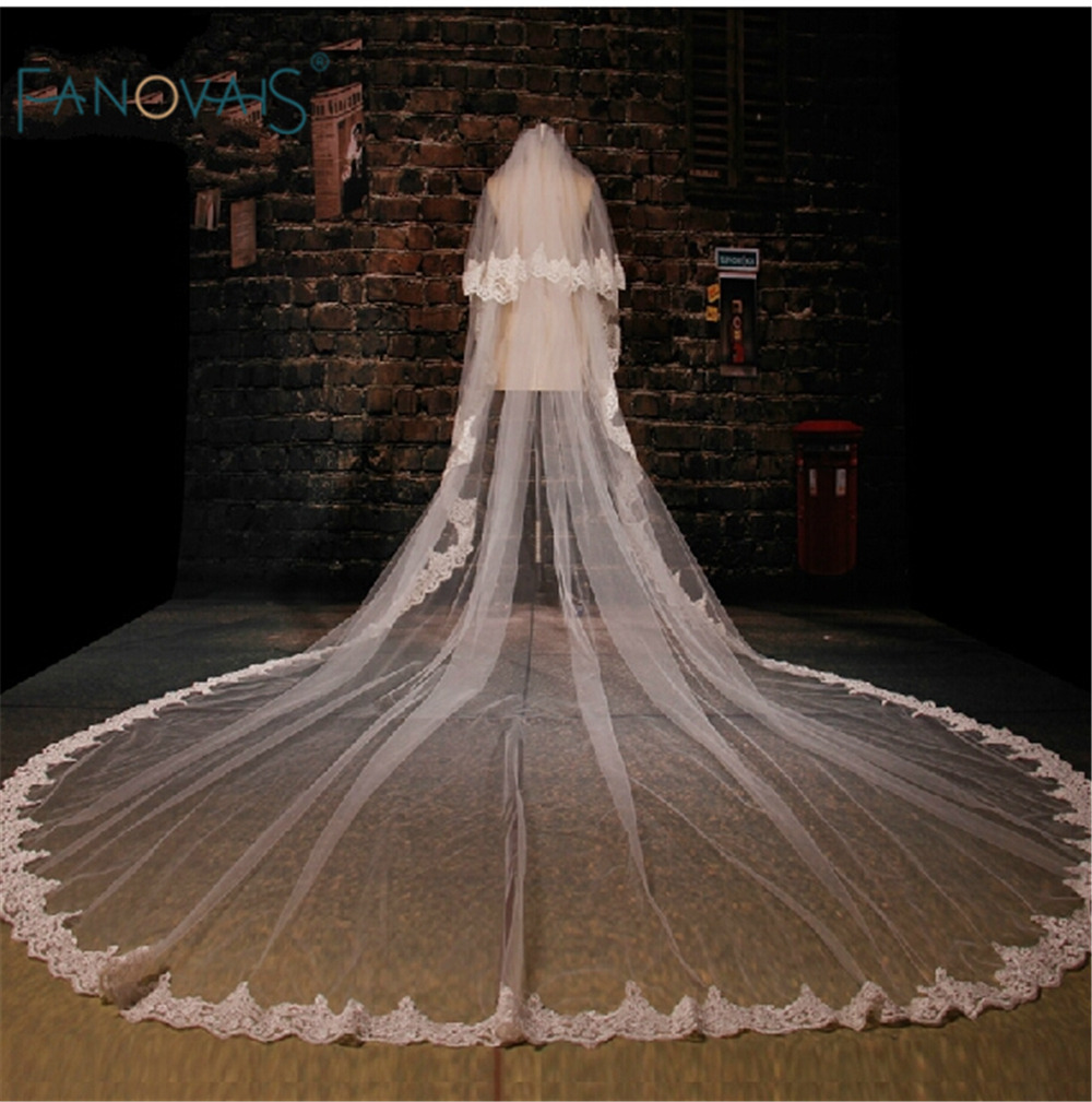 New Arrival Appliqued Two Layers cathedral wedding veil Five Meters White long Veu De Noiva veu