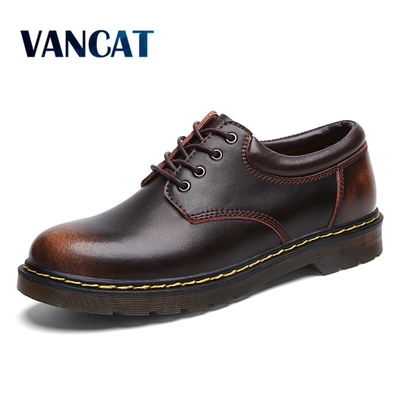 High Quality Genuine Leather <font><b>Men</b></font> <font><b>Shoes</b></font> Spring Work Safety Casual <font><b>Shoes</b></font> Fashion Flats Oxfords Loafers Moccasins Big Size 38-47 image