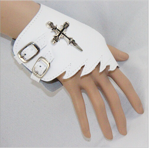 Fashion Punk Style PU Leather Gloves Cross Skull Non-mainstream Half Palm Gloves Black And White Fingerless Rock Gloves