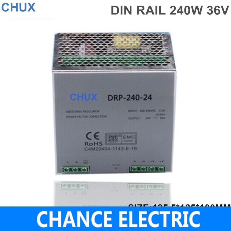 din rail mount switching power supply 240w 36v 6.6A Single Output  AC/dc input SMPS DR240-36v-6.6A  for cnc led light