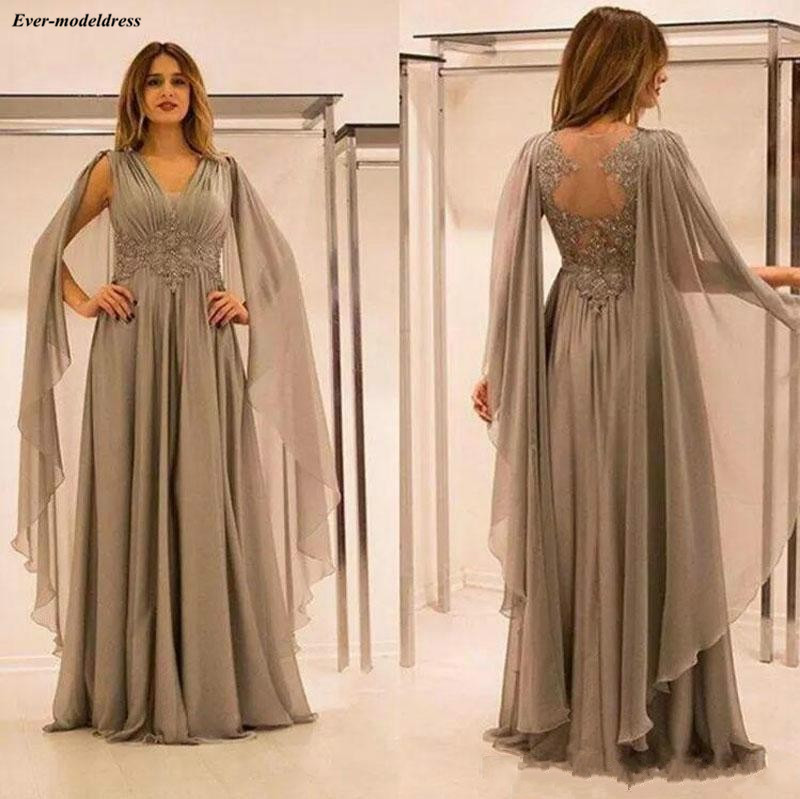 Plus Size Mother of the Bride Dress Grey Groom Dresses Long Sleeves Wrap Party