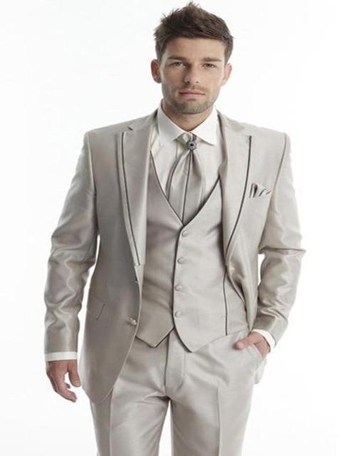 Hot champagne men suits Groom Tuxedos Notch Lapel Men Suit Champagne ...