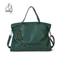 Vintage Luxury Classic Designer Tote Handbags High Quality Women Shoulder Bags Female Large Big Rivet Bag Tassel Pu Leather