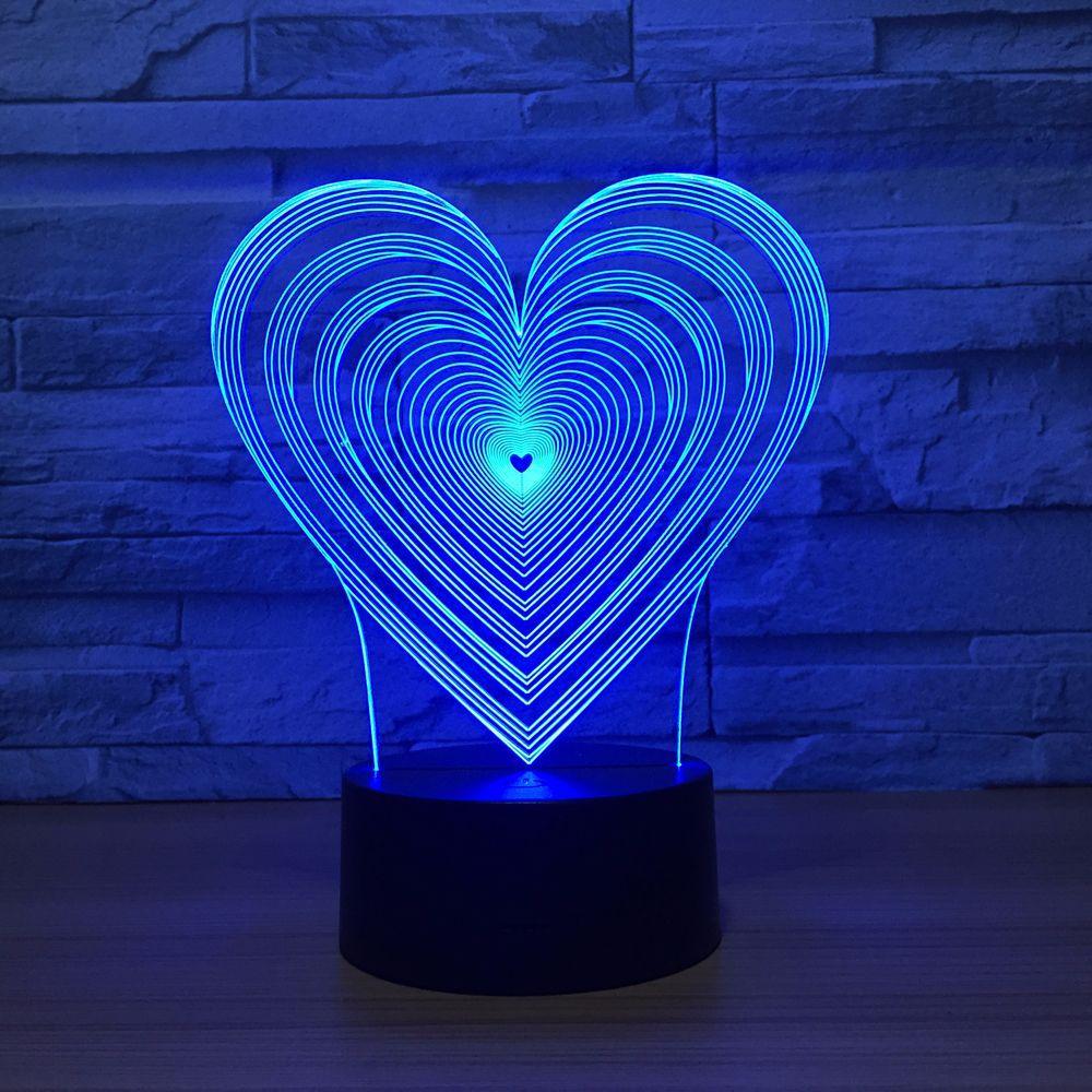 Heart Shape LED 3D Visual Night Light 7 Colors Change Baby Bedroom light Led Night Lamp Acrylic Romantic Wedding Party Decorat