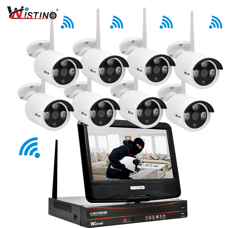 Wistino 1080P Wifi Kit CCTV System Wireless 8CH NVR Security IP Camera Outdoor P2P Monitor Kits LCD Screen Surveillance Camera
